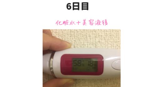 カカオ美容液の測定結果6日目