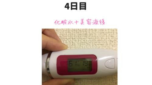 カカオ美容液の測定結果4日目